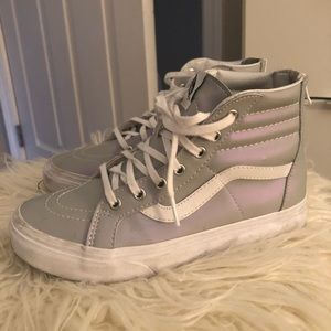 Iridescent grey and white high top vans